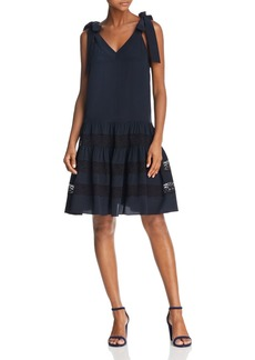 Rebecca Taylor Lace-Inset Silk Dress