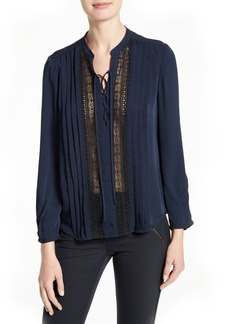 Rebecca Taylor Lace Inset Silk Georgette Blouse