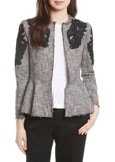 Rebecca Taylor Lace Inset Tweed Jacket