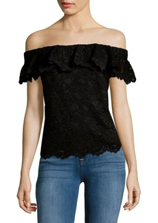 Rebecca Taylor Lace Off Shoulder Blouse