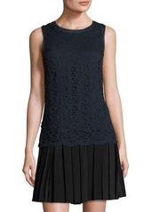 Rebecca Taylor Lace-Overlay Pleat-Skirt Dress