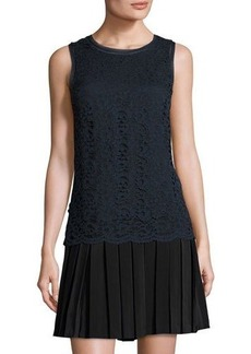 Rebecca Taylor Lace-Overlay Pleat-Skirt Dress