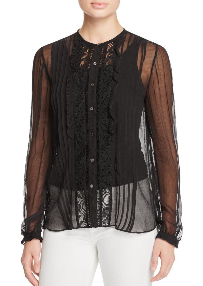 Rebecca Taylor Lace Panel Silk Shirt