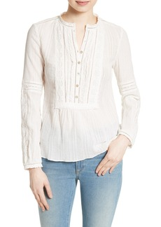 Rebecca Taylor Lace Trim Cotton Gauze Top