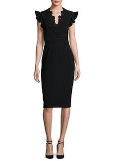 Rebecca Taylor Lace-Trim Crepe Sheath Dress