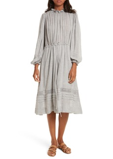 Rebecca Taylor Lace Trim Gauze Drawstring Midi Dress