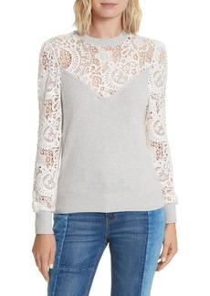 Rebecca Taylor Lace Trim Knit Pullover