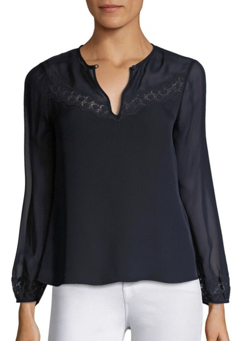 Rebecca Taylor Lace Trim Silk Georgette Top