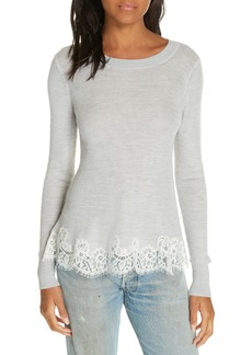 Rebecca Taylor Lace Trim Sweater