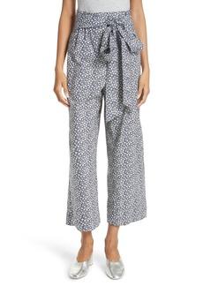 Rebecca Taylor Lauren Floral Tie Waist Cotton Pants