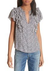 Rebecca Taylor Lauren Ruffle Sleeve Silk Top