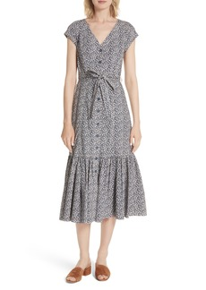 Rebecca Taylor Lauren Tie Front Floral Cotton Dress