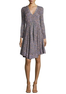Rebecca Taylor Lavish V-Neck Long-Sleeve Dress