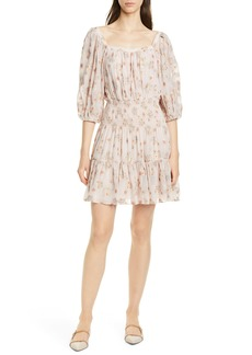 Rebecca Taylor Leander Metallic Floral Silk Blend Dress