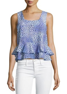 Rebecca Taylor Leopard Fever Ruffled Tank