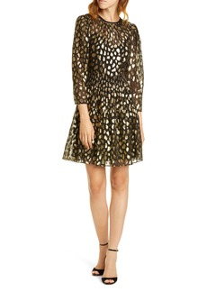 Rebecca Taylor Leopard Metallic Long Sleeve Dress