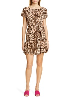 Rebecca Taylor Leopard Print Linen Minidress