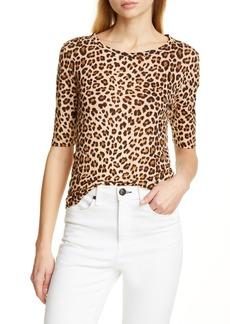9709b8f6c4b7 Rebecca Taylor Leopard Print Linen Slub Jersey Top