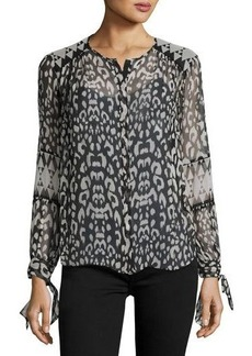 Rebecca Taylor Leopard-Print Long-Sleeve Blouse