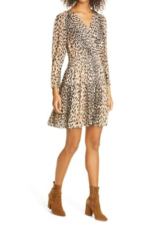 Rebecca Taylor Leopard Print Long Sleeve Silk Blend Dress