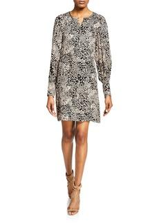 Rebecca Taylor Leopard-Print Silk Button-Front Short Dress