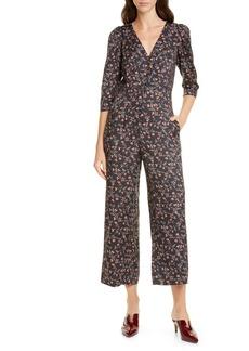 Rebecca Taylor Lia Floral Print Crop Jumpsuit