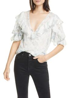 Rebecca Taylor Lily Metallic Detail Ruffle Silk & Cotton Blouse