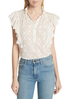 Rebecca Taylor Lily Ruffle Embroidered Silk Top
