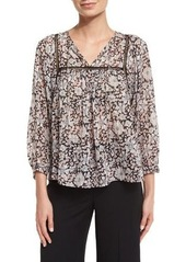 Rebecca Taylor Lindsay 3/4-Sleeve Floral Silk-Blend Top