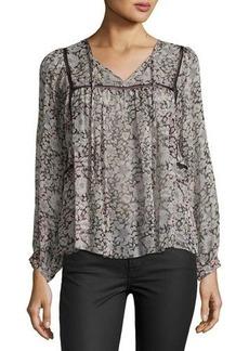 Rebecca Taylor Lindsay Floral-Print Silk Top