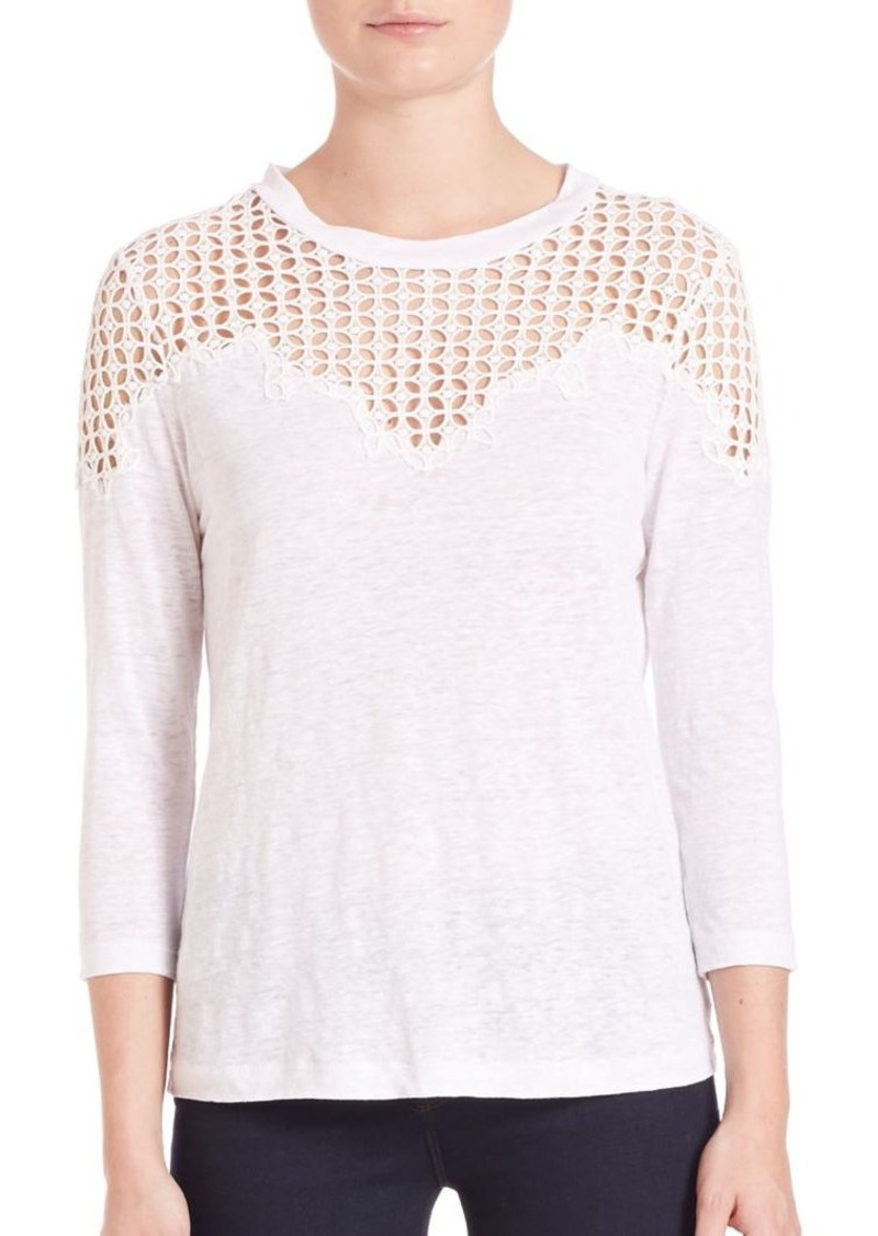 Rebecca Taylor Linen Lace Tee