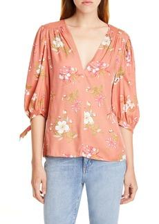 Rebecca Taylor Lita Floral Tie Sleeve Silk Blend Blouse