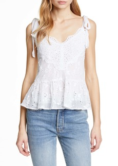 Rebecca Taylor Livy Tie Strap Cotton & Silk Eyelet Top