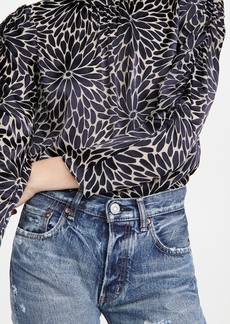 Rebecca Taylor Long Sleeve Autumn Bloom Mock Top