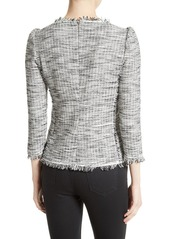 Rebecca Taylor Long Sleeve Bouclé Tweed Top