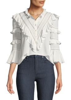 Rebecca Taylor Long-Sleeve Button-Front Silk Lace Top