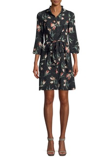 Rebecca Taylor Long-Sleeve Button-Front Tie-Waist Floral-Print Dress