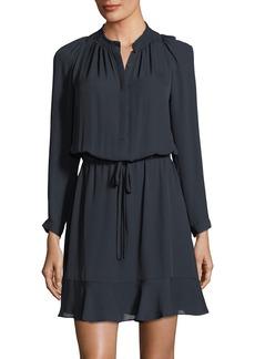 Rebecca Taylor Long-Sleeve Double-Georgette Flutter-Hem Dress