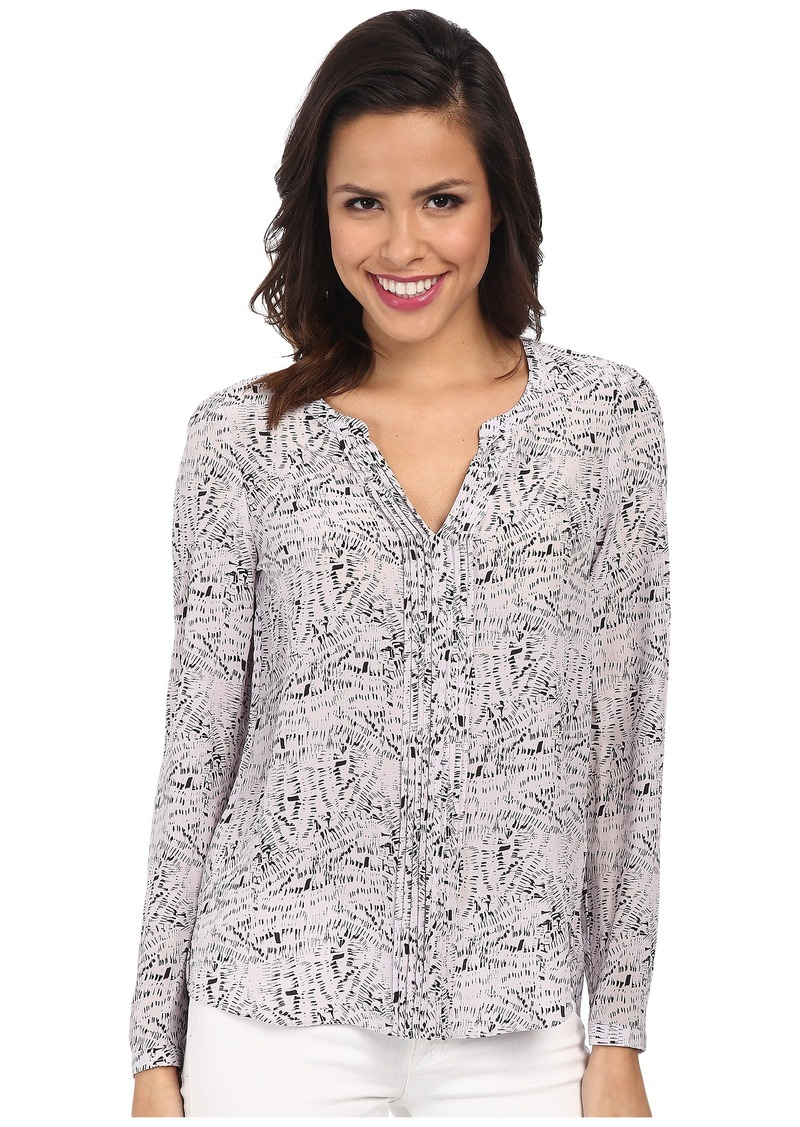 Rebecca Taylor Long Sleeve Etch Print Pintuck Top