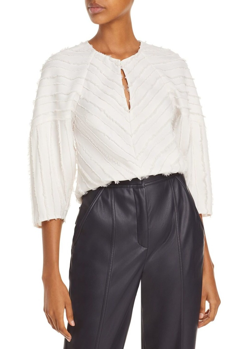 Rebecca Taylor Long Sleeve Eyelash Blouse