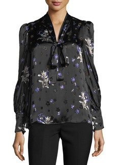 Rebecca Taylor Long-Sleeve Floral-Print Tie-Neck Top