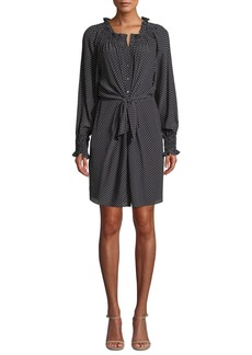 Rebecca Taylor Long-Sleeve Front-Tie Dot Silk Dress