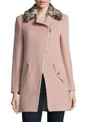 Rebecca Taylor Leopard Print Faux Fur Collar Jacket