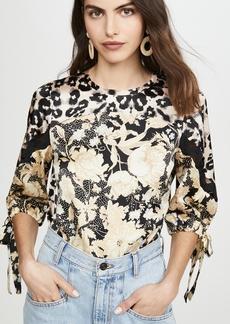 Rebecca Taylor Long Sleeve Gold Leaf Top