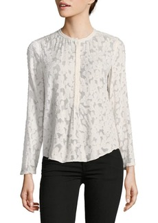 Rebecca Taylor Long Sleeve Ivy Vine Silk-Cotton Top