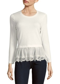 Rebecca Taylor Long Sleeve Lace Hem Top