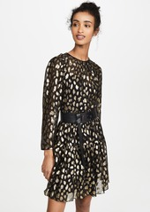 Rebecca Taylor Long Sleeve Leopard Metallic Dress