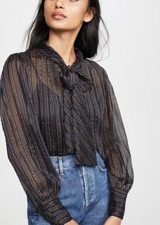 Rebecca Taylor Long Sleeve Metallic Stripe Top