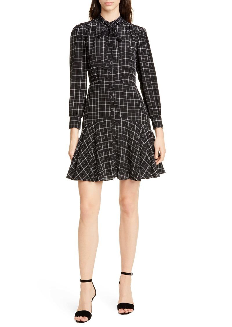 Rebecca Taylor Long Sleeve Plaid Silk Dress