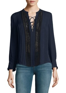 Rebecca Taylor Long-Sleeve Pleated Top